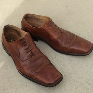 Stacy Adams Square Toe Oxford Brogue Dress Shoes